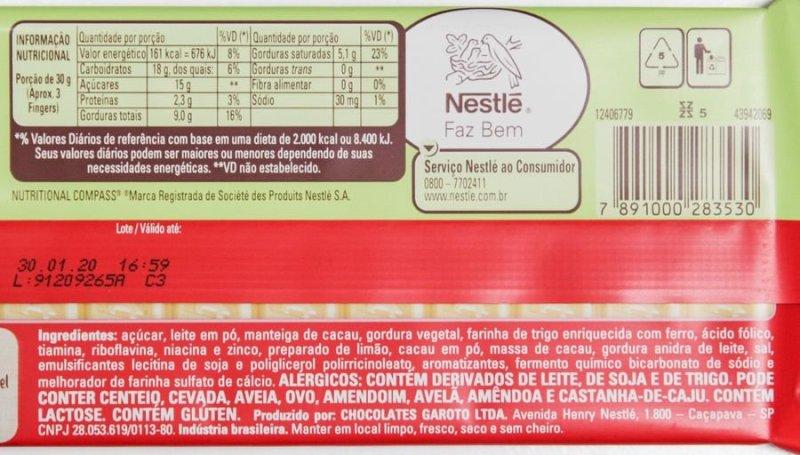 Lista de ingredientes e tabela nutricional do Kit Kat Limão