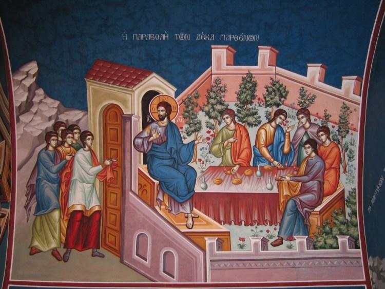 Grand mardi. La parabole des dix vierges. Fresque grecque moderne