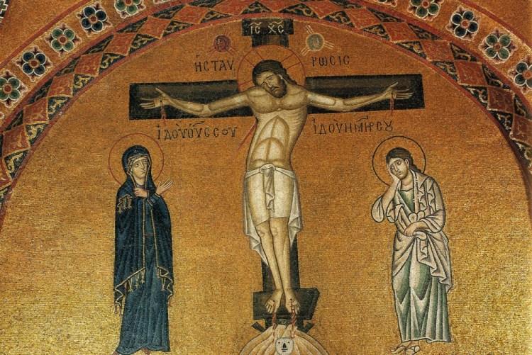 Vendredi saint. Crucifixion. Mosaïque du monastère d'Osios Lucas