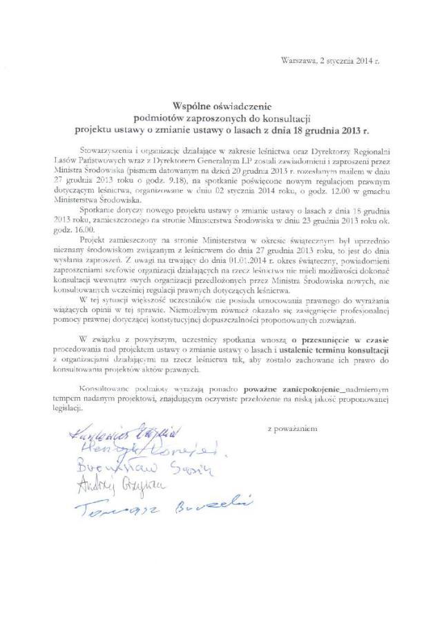 Oświadczenie dla Ministra Środowiska str 1