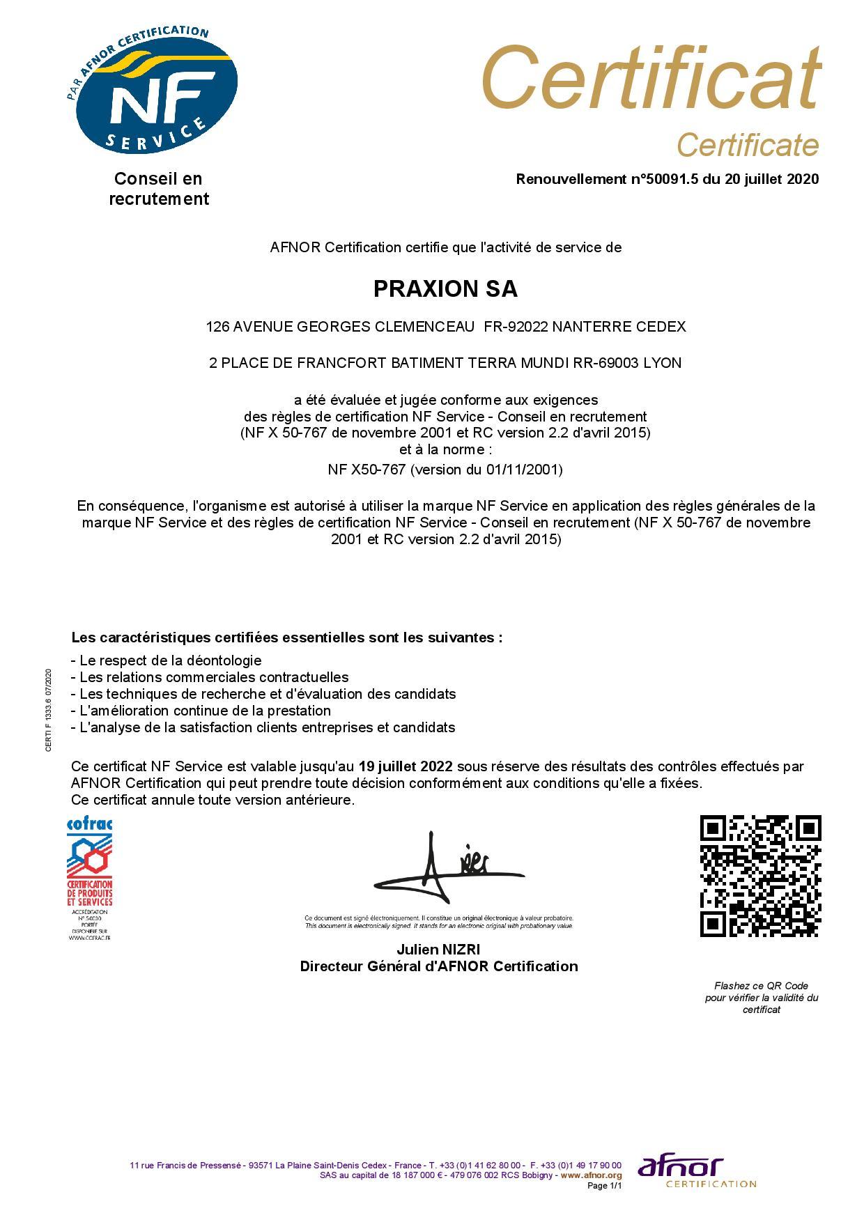 certificat de la certification ARFNOR NF service