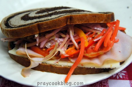 pickled slaw on rye