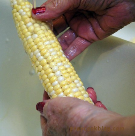 Alice and Corn shucking