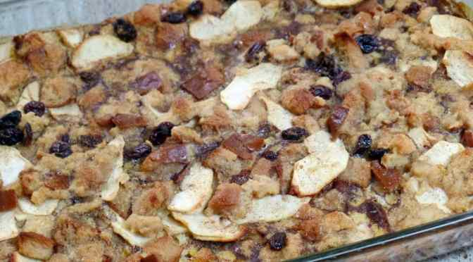 Apple Bread Pudding With Luscious Vanilla Sauce