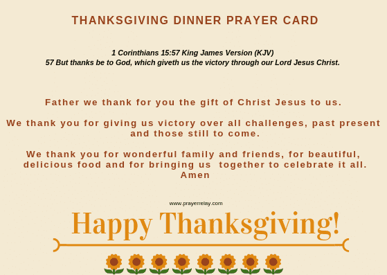 THANKSGIVING DINNER PRAYER CARD