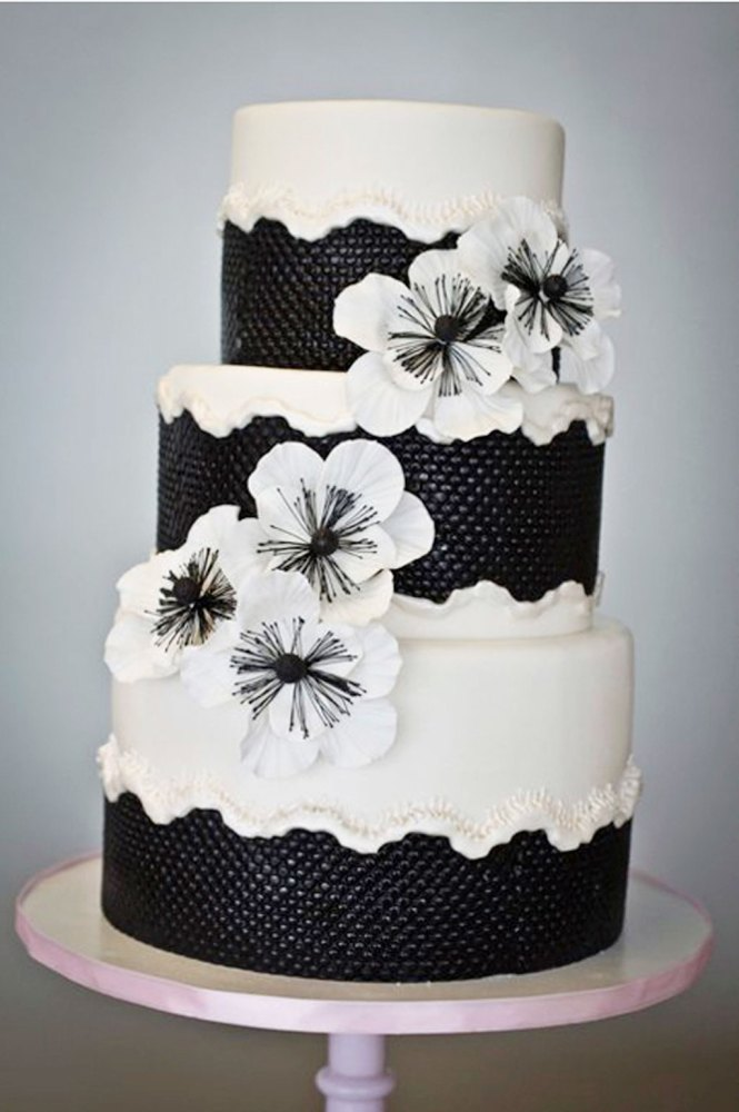 Unusual Three Tier Black And White Art Deco Wedding Cake
