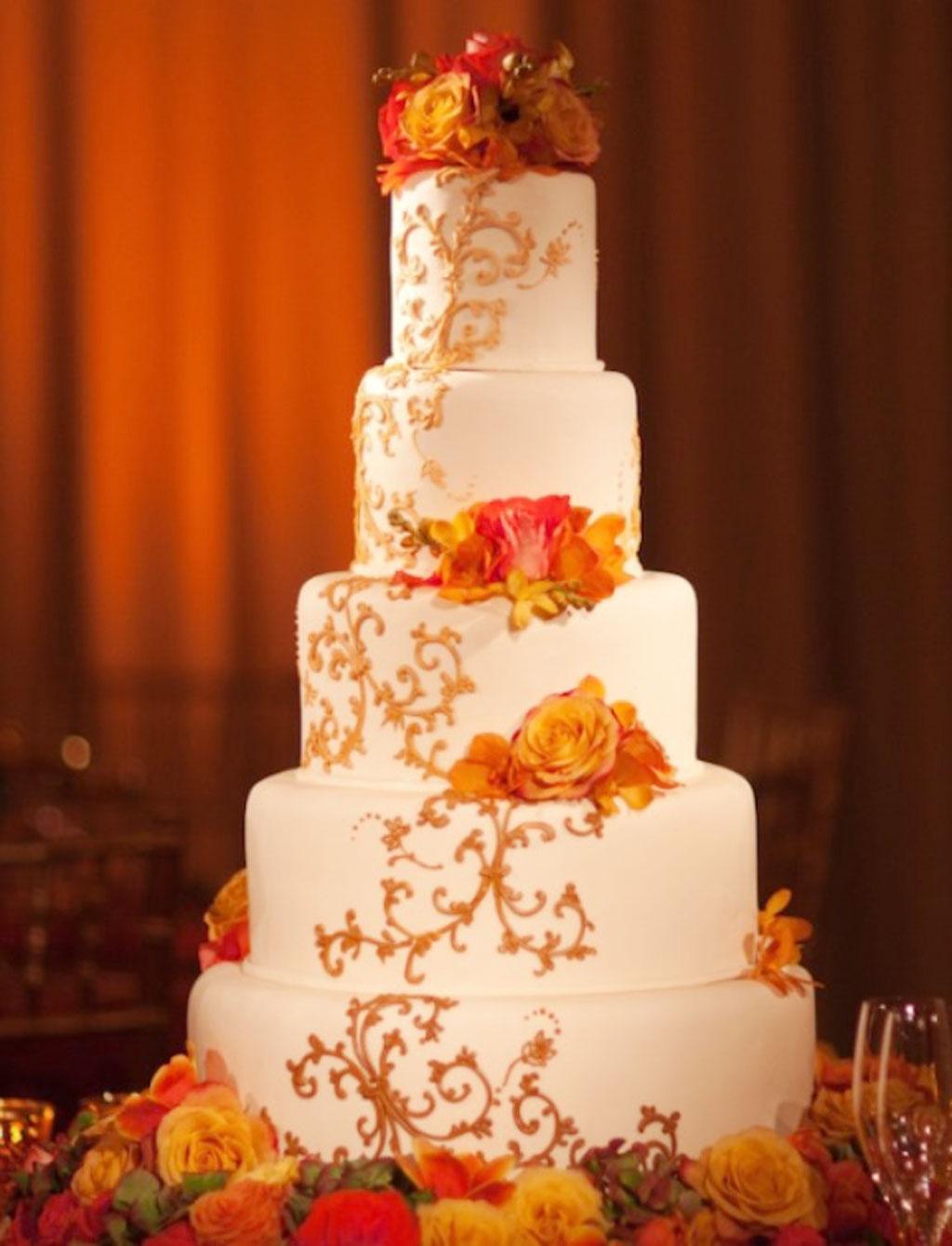 Fall Theme Orange Wedding Cake Wedding Cake