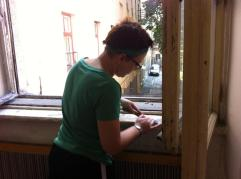 Scraping and cleaning up (Art Center in Kosice).