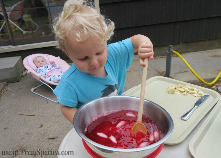 stirring the jello after ice water has been added