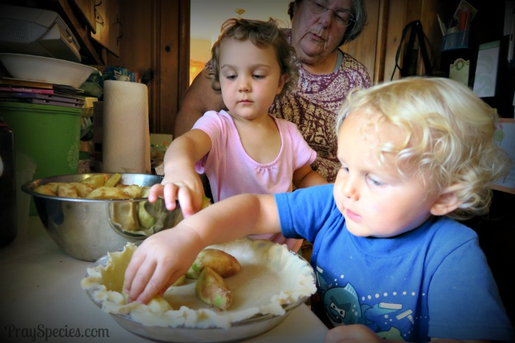 making apple pie with Grandma