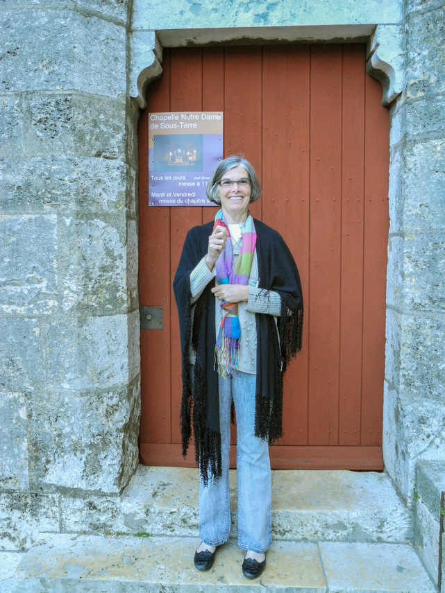 Jill Geoffrion outside the door to the crypt
