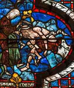 Good Samaritan cares for the wounded pilgrim