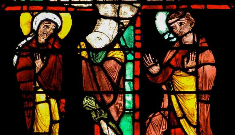 The crucifixion in the Passion and Resurrection Window by Jill K H Geoffrion