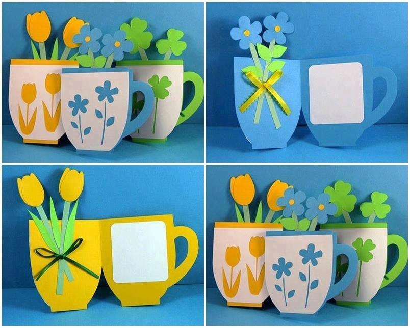 открытка чашка с цветами