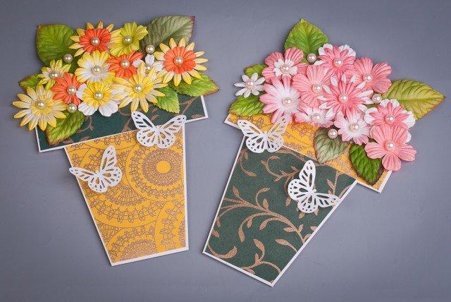 Бумажные цветы в корзинке