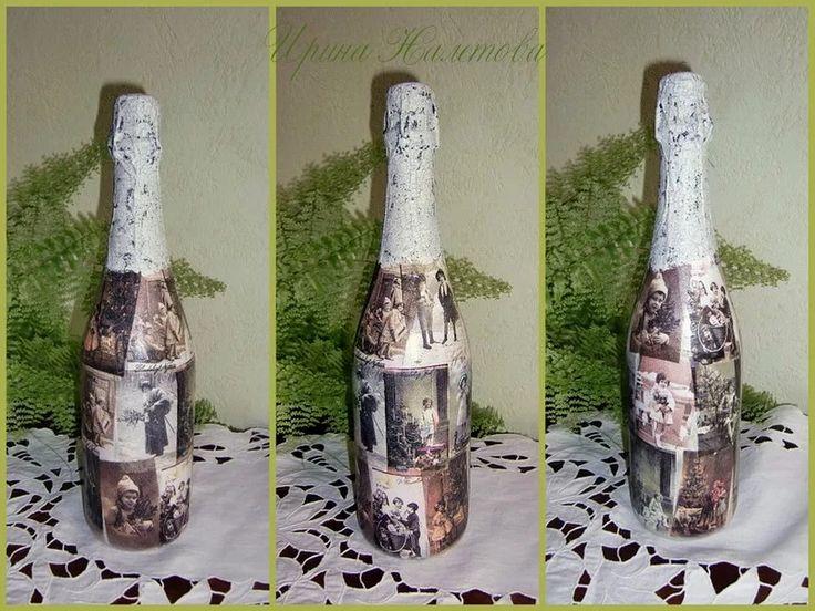 декорирование шампанского кракелюром
