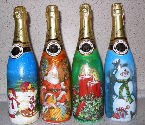 новогодний декупаж шампанского