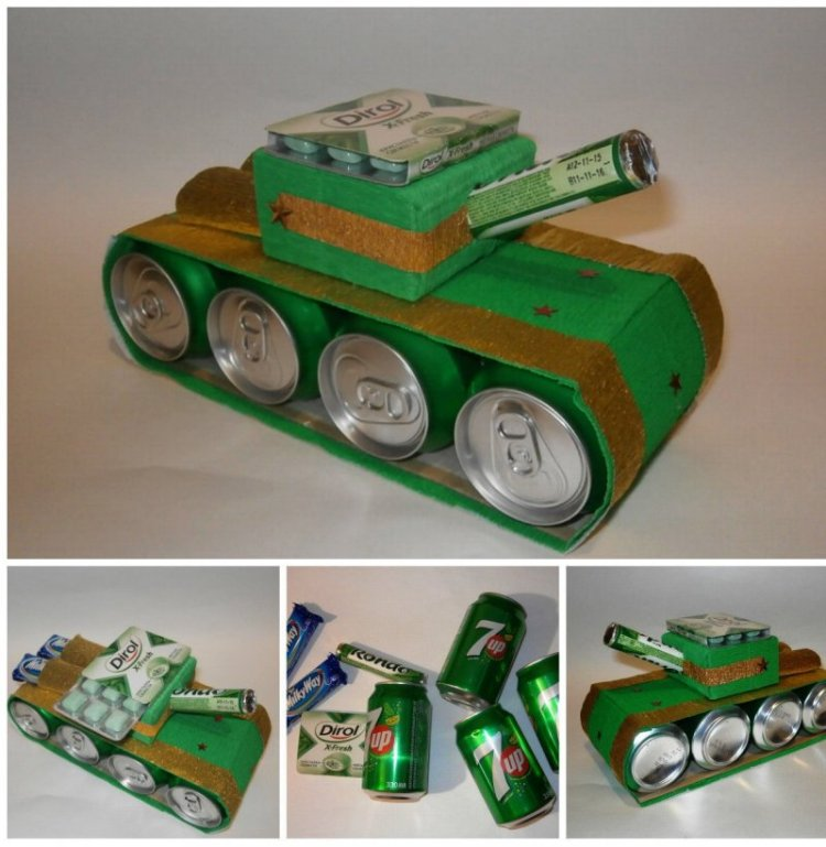 как сделать танк своими руками из пива и конфет