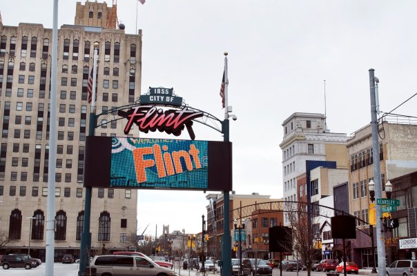 A photo of part of downtown in Flint, MI.