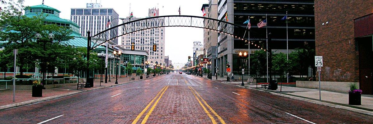 A photo of downtown Flint, MI