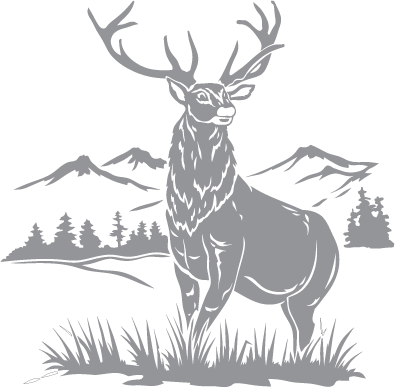 stag and mountain scene pre cut patterns