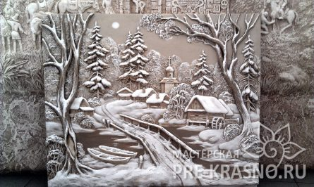 Зимний пейзаж, барельеф