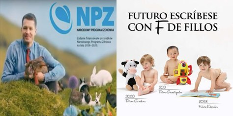 """""""Reproduce like bunnies,"""" says the Polish health ministry in the lefthand advert. The Galician campaign at right.}"""