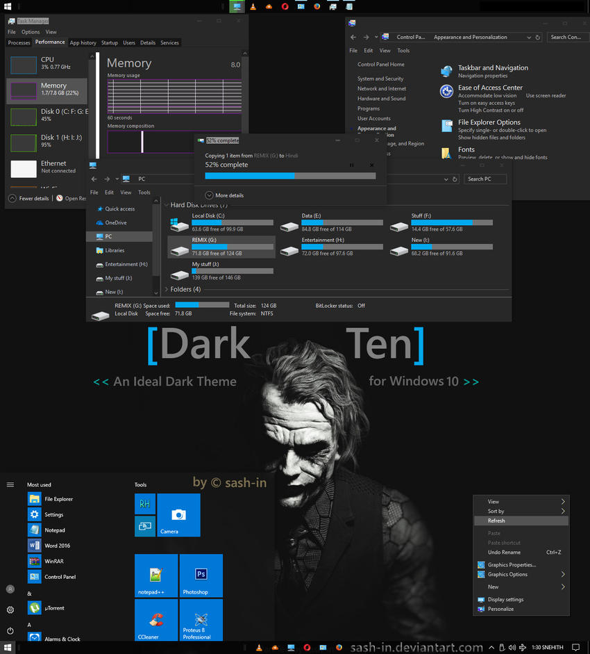DarkTen - An Ideal Windows 10 Visual Style/Theme by sash-in