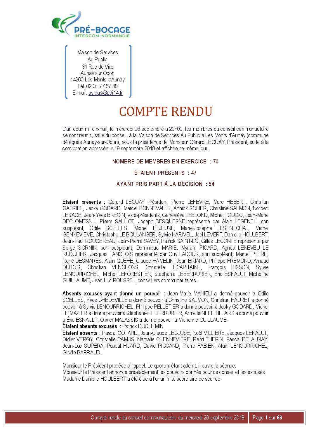 Compte-Rendu du 26 septembre 2018