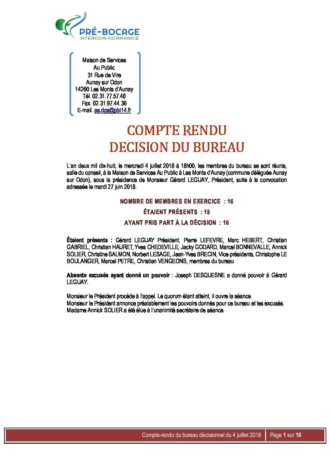 CR Bureau du 4 juillet 2018