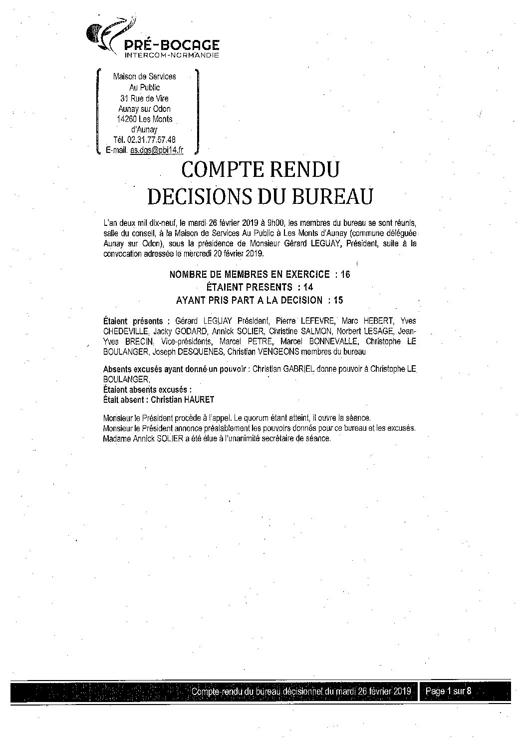 CR Bureau du 26 février 2019