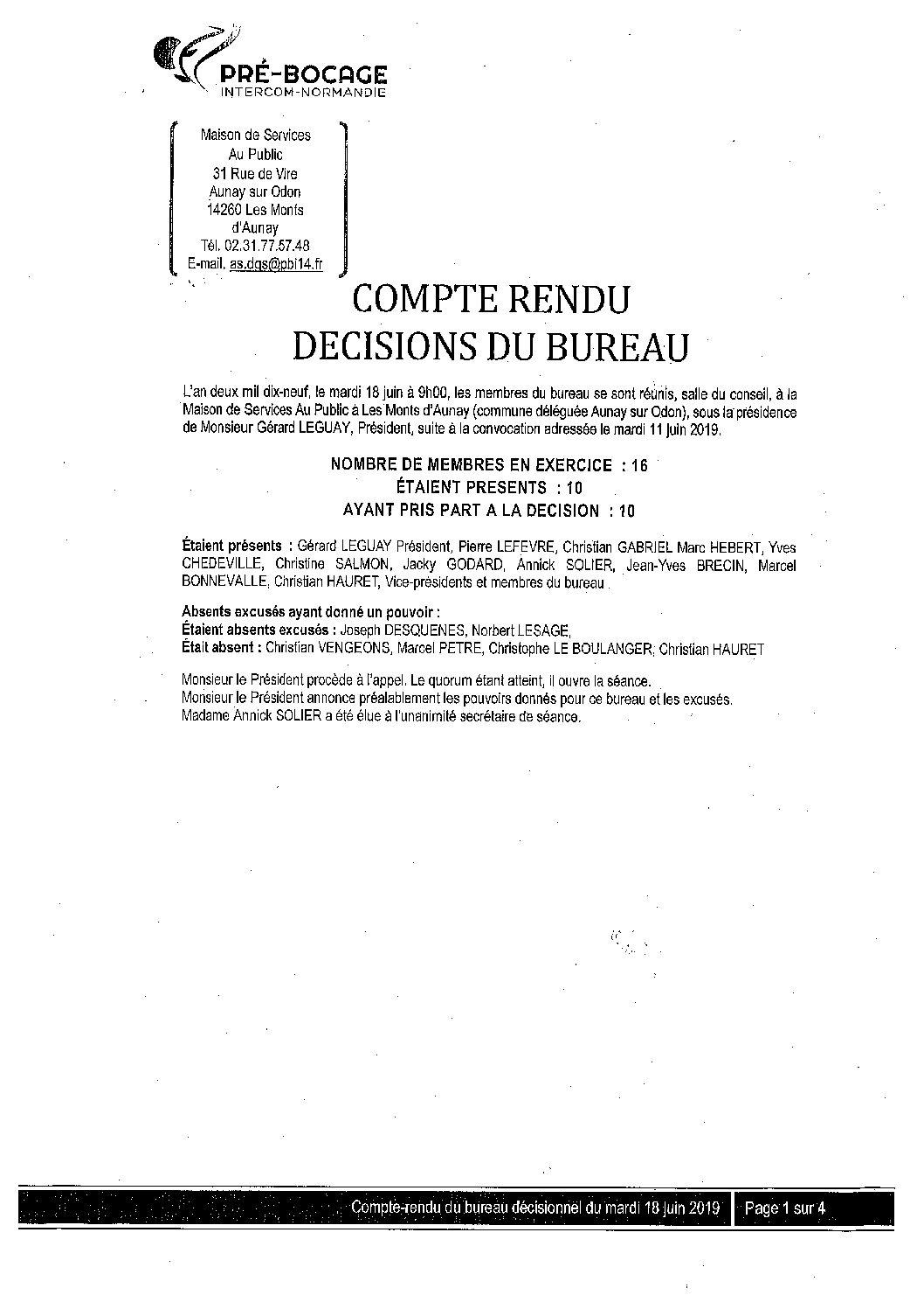 CR Bureau du 18 juin 2019