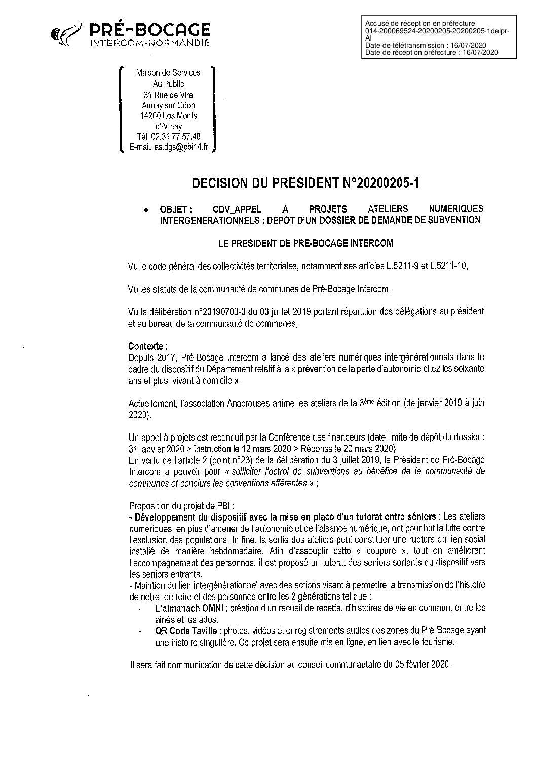 Décision déléguée du 05 février 2020