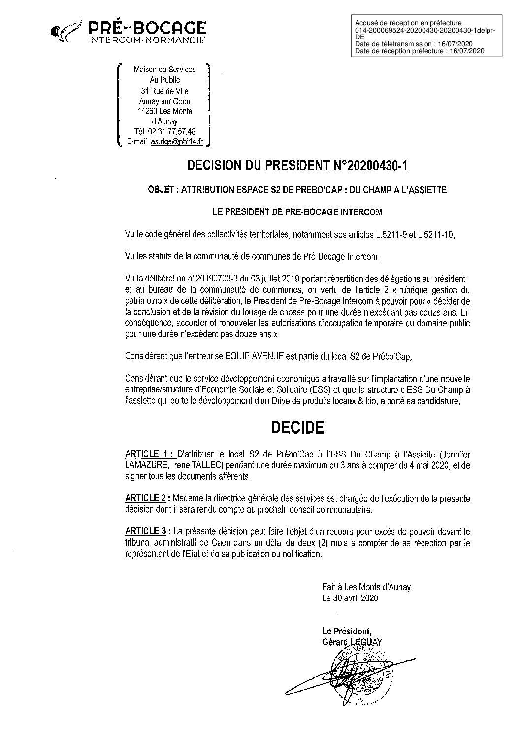 Décision déléguée du 30 avril 2020
