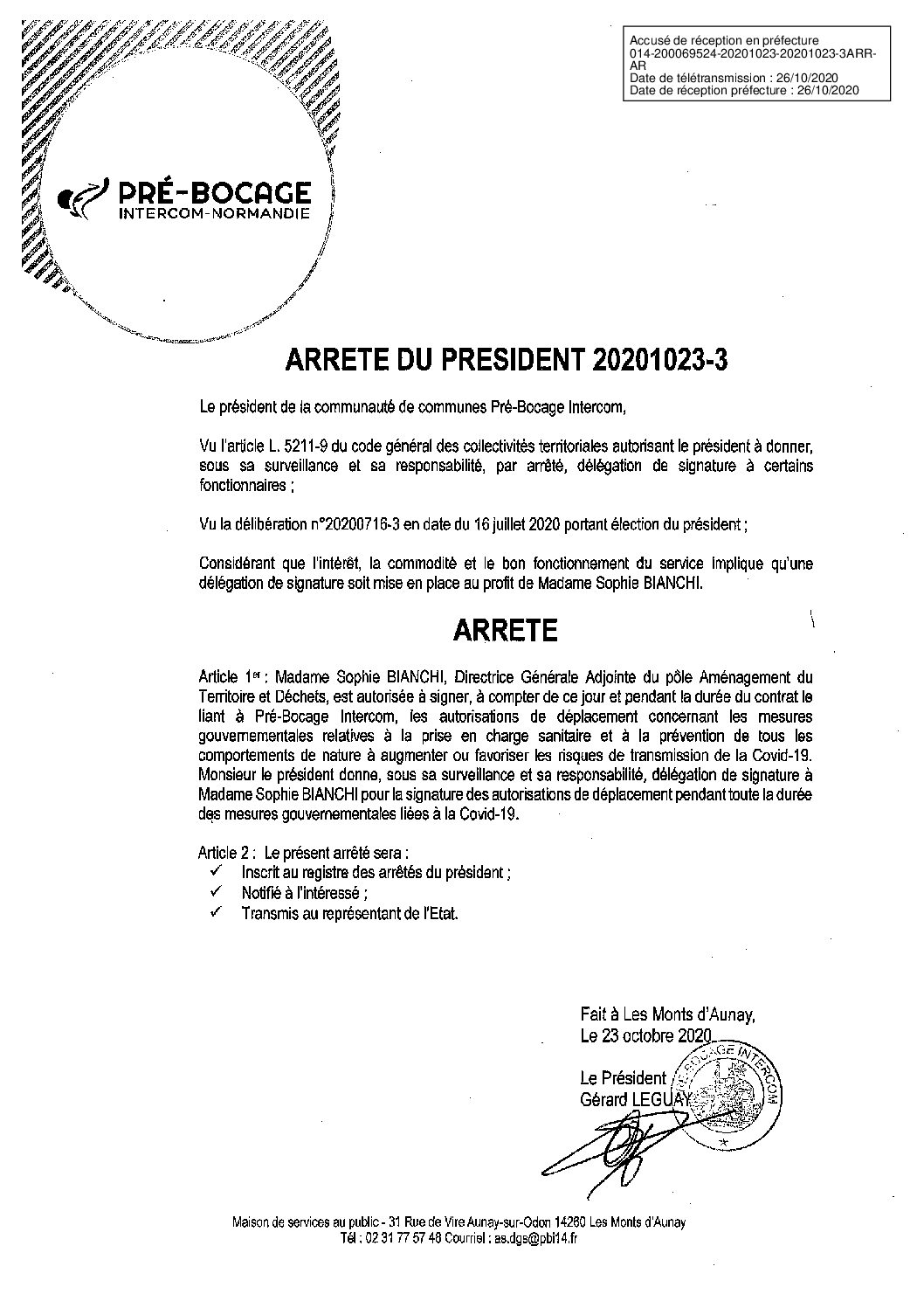 Décision déléguée du 23 octobre 2020
