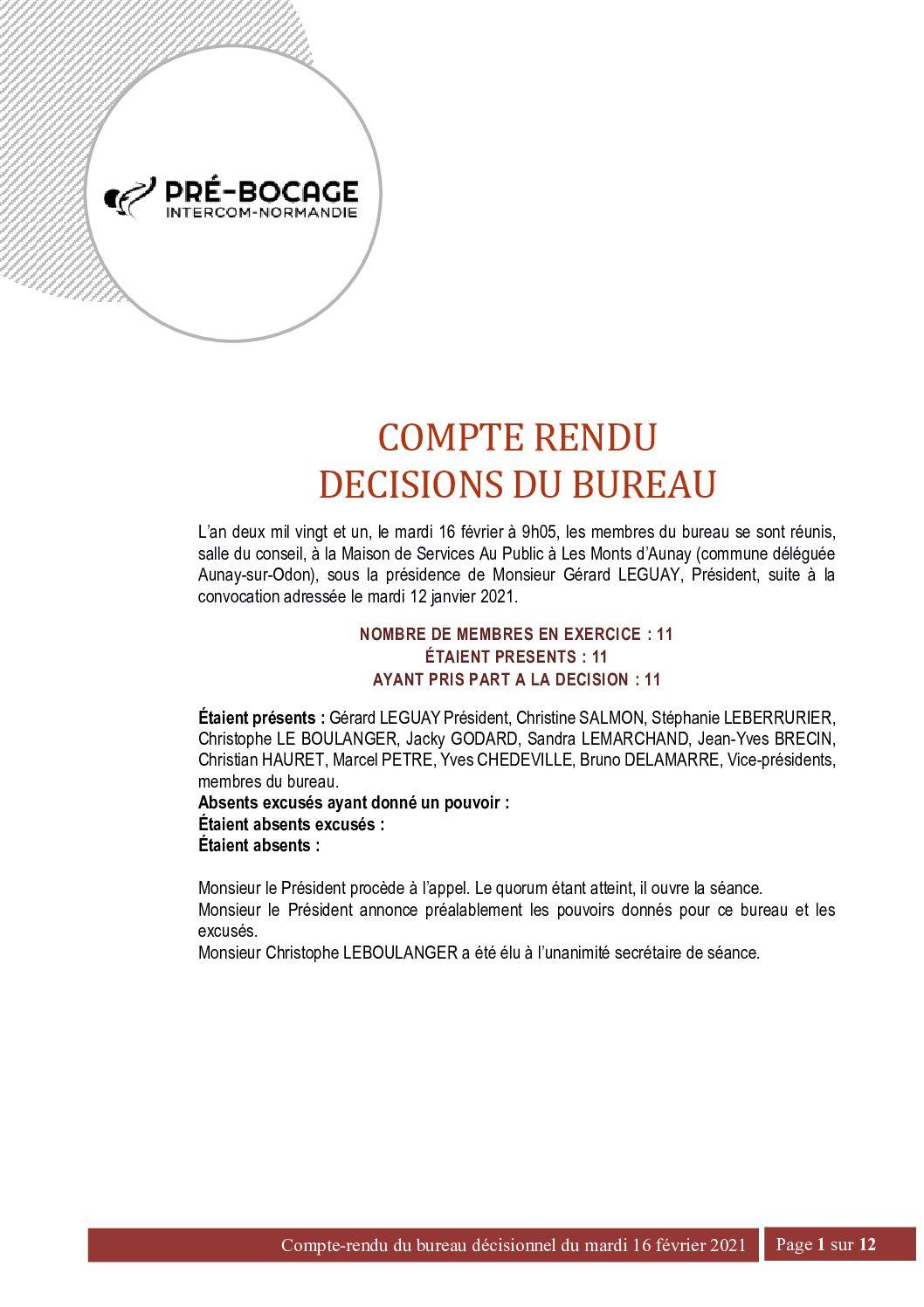 CR Bureau du 16 février 2021