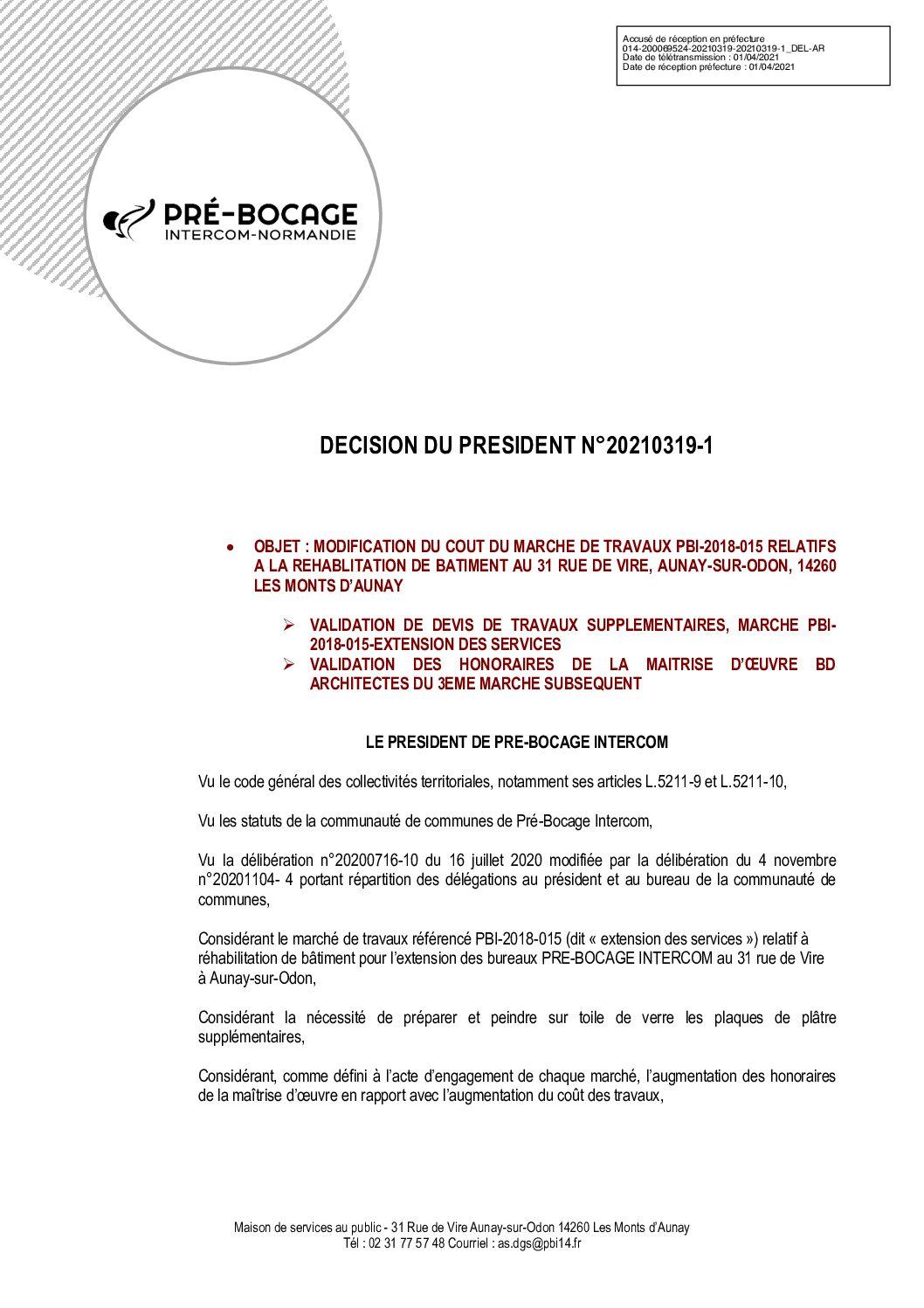 Décision déléguée du 19 mars 2021