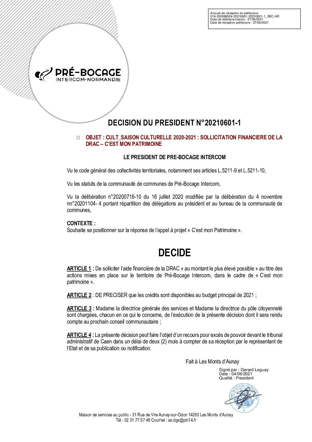 Décision du 1er juin 2021