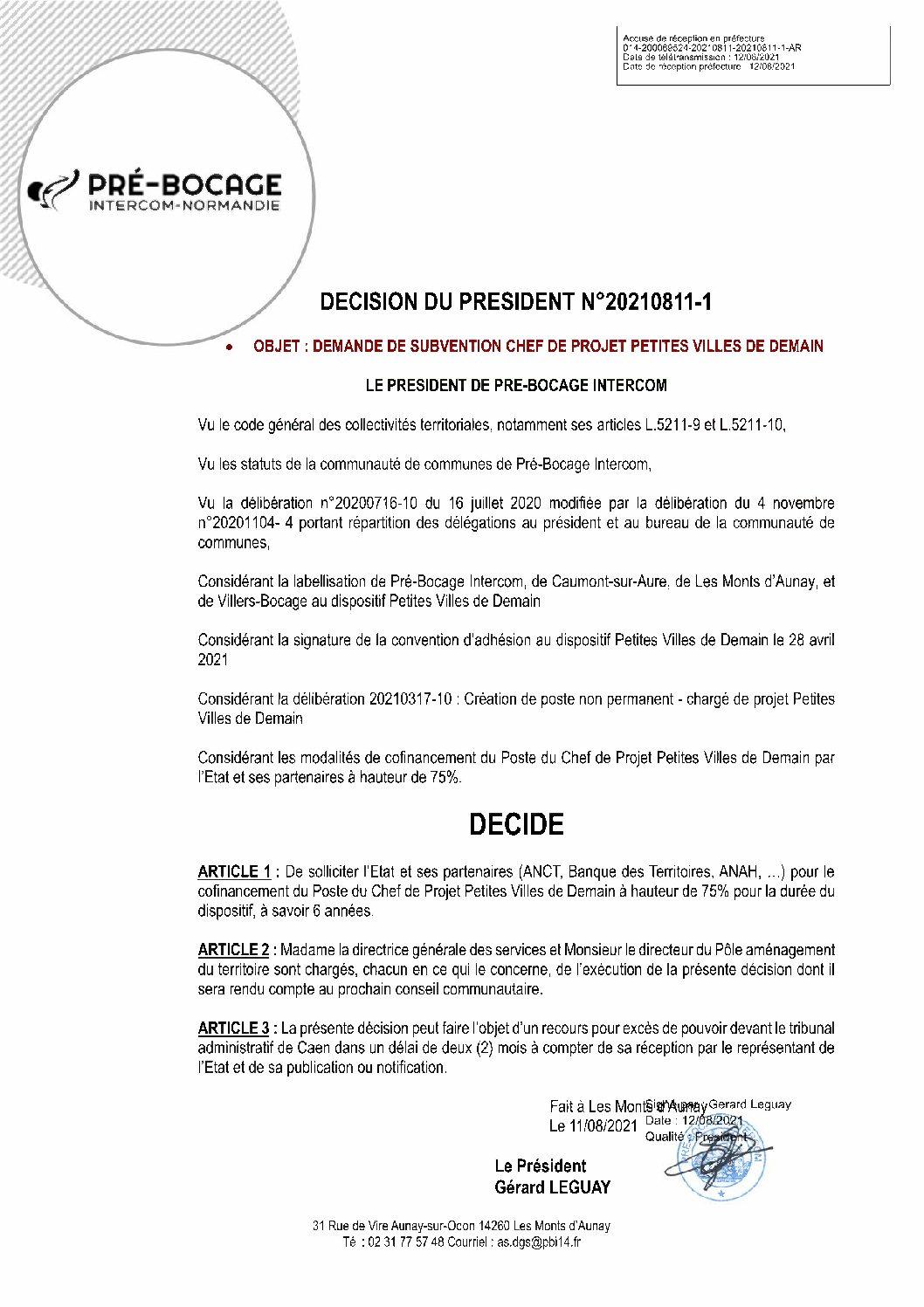 Décision déléguée du 11 août 2021