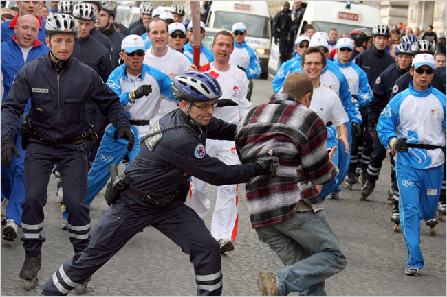Olympic Torch Protest in Paris