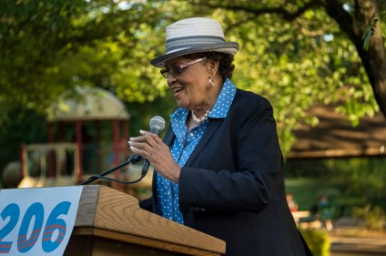 Representative Alma Adams speaks at Democrats in the Park.
