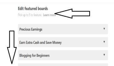 feature board edit setting