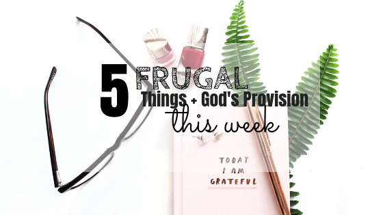 5 frugal things + God's provision this week