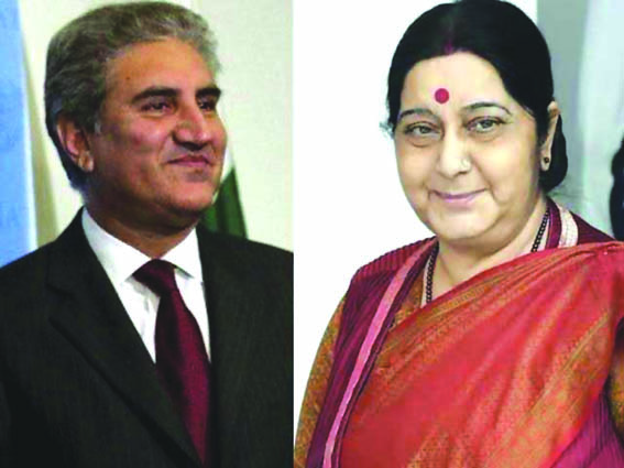 Swaraj, Qureshi sit next to each other at SCO meeting
