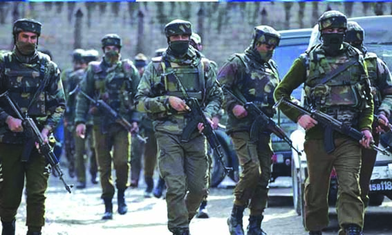 Security forces review bullet proof equipment in JK