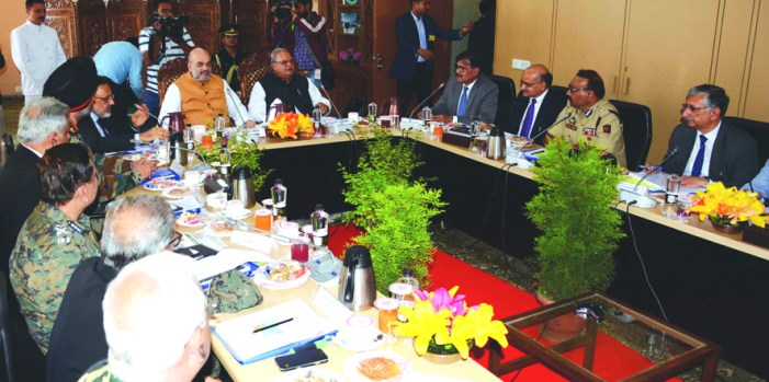 Maiden official visit Amit Shah reviews security situation in JK