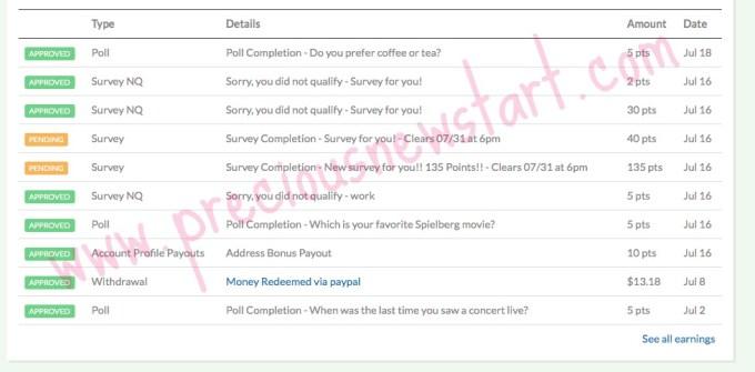 mintvine survey earnings