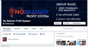 no brainer profit system Facebook group