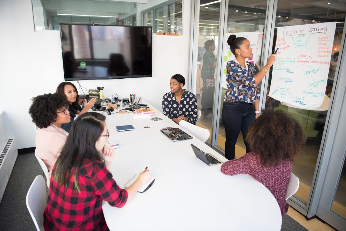 black female leaders in meeting