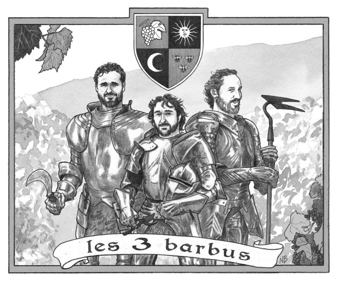 Etiquette Les 3 Barbus (2014) - Version noir & blanc